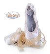 Ballet pointe shoes isolated on white