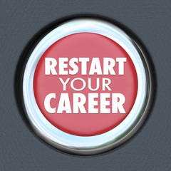 Restart Your Career Red Car Button New Job Work Employee