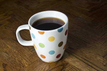 Black Coffee in a Polka Dot Mug