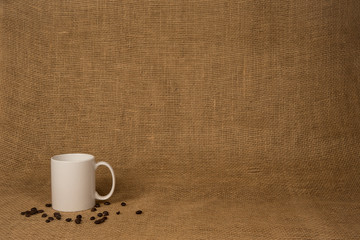 Coffee Mug Background - White Mug and Beans