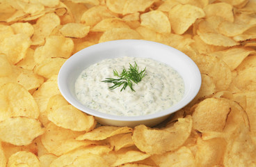 A bowl of dip surrounded by potato chips.