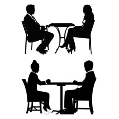 People sitting at table and talking.Vector illustration