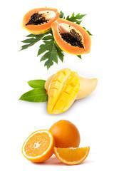 papaya with mango and orange isolated on white background.