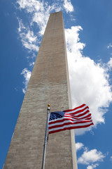Obelisk with American Flag in National mall, Washington monument
