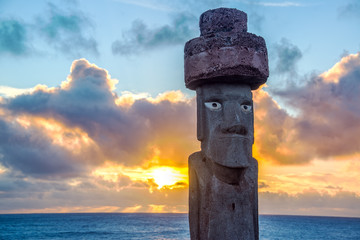 Moai Replica at Sunset