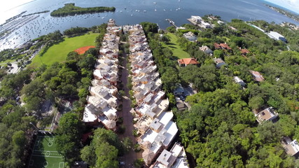 Aerial video footage of secluded townhomes