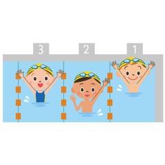 プールで遊ぶ子供達