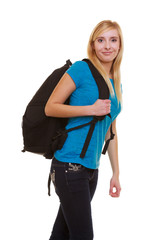 Smiling girl female student with bag backpack isolated