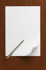 Blank White Paper Sheet with pen