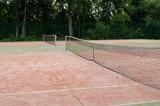 tennis courts in recreation village park summer poster