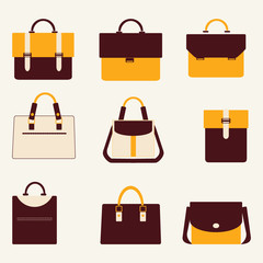 Set icons of business bags briefcase and  handbags - Illustratio
