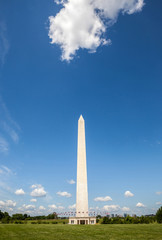 The Washington monument with cloudy blue sky