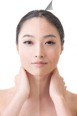 Face of beautiful Asian woman before and after retouch