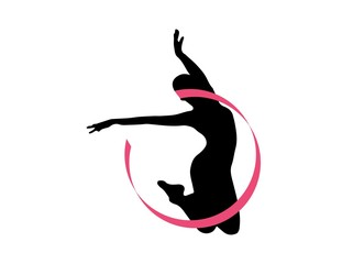 logo dancer silhouette ballet symbol icon dancing