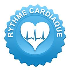 rythme cardiaque sur bouton web denté bleu