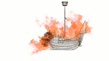 blazing wireframe ship with white screen