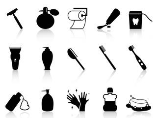 Black bathroom accessories icon set