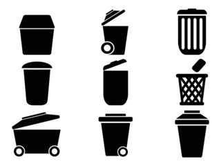 black Trash can icons