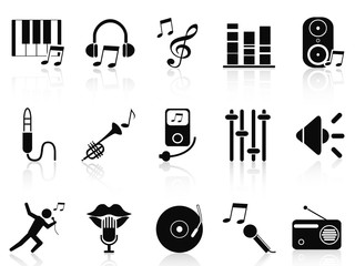 black music audio icons set