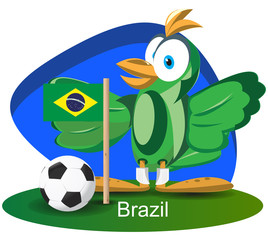 World cup mascot 2014 with Brazil team flag