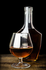cognac in bottles and glasses