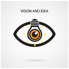 Vision and creative light bulb idea concept , eye symbol