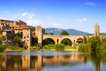 Medieval town on the banks of river. Besalu