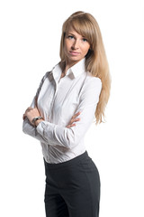 Portrait of young business woman white shirt black trousers