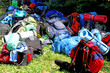 colorful pile of backpack of Scouts during an excursion in the n