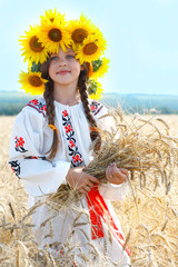 A photo of little beautiful girl is in vintag national clothes