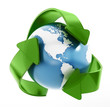 canvas print picture - Earth in recycle symbol