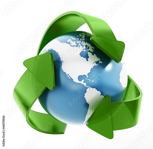 canvas print picture Earth in recycle symbol