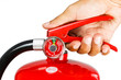 Leinwanddruck Bild - Holding fire extinguisher isolated , with clipping path