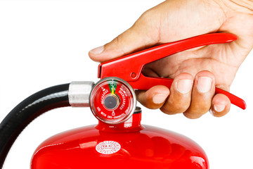 Holding fire extinguisher isolated , with clipping path