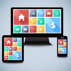 Modern flat user interface kit in computer, mobile, tablet