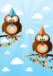 Birthday owls on sky background