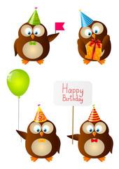 Set of cute Birthday owls