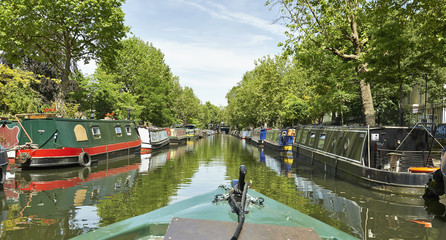 Boats on the Regents Canal at Little Venice in London, England