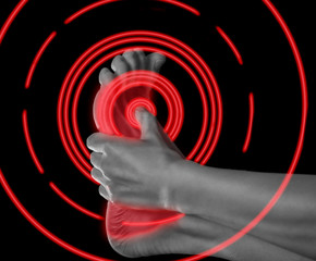 Pain in the foot, pain area of red color