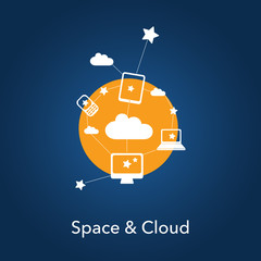 Space & cloud service - online data network symbol