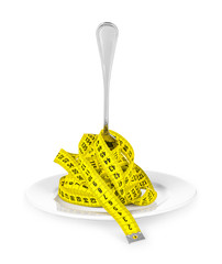 plate with a fork and measuring tape. concept of diet