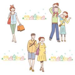 人物イラスト 家族 カップル
