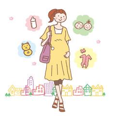 人物イラスト 妊婦