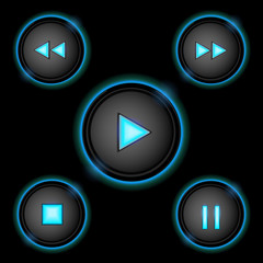 neon control buttons blue