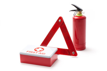 Road Triangle Fire Extinguisher And First Aid Kit