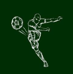 Illustrations footballer kicking a ball