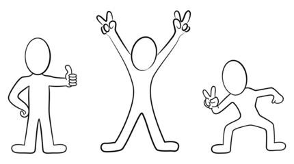 Cartoon Männchen in schwarz weiß