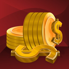 Illustration for Gold Dollar Coin