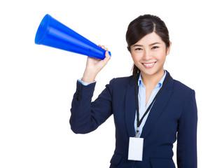 Businesswoman hold megaphone