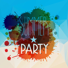 Vector abstract splattered summer party background